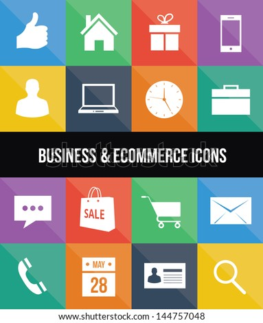 stylish colorful business and ecommerce icons - stock vector