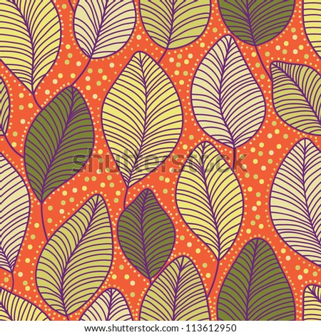 Stylish colorful floral autumn fall vector pattern with leaves