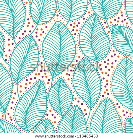 Stylish colorful floral cute vector pattern with leaves