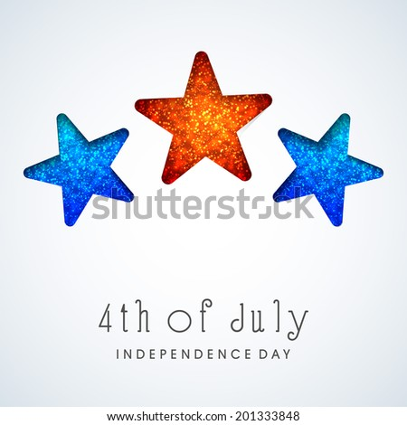 Stylish colorful stars on blue background for 4th of July, American Independence Day celebrations.  - stock vector