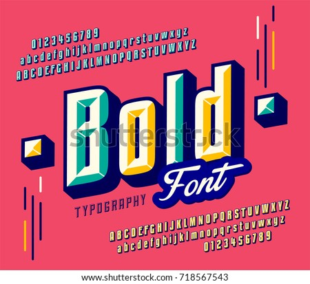 Stylish colorful stylized retro italic font and alphabet with numbers, upper and uppercase letters.