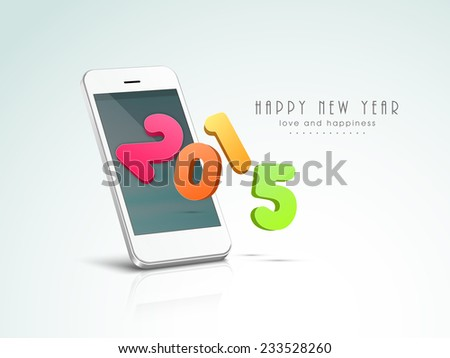 Stylish colorful text 2015 with touch mobile for Happy New Year celebration on shiny background, can be use us poster, banner or flyer. - stock vector