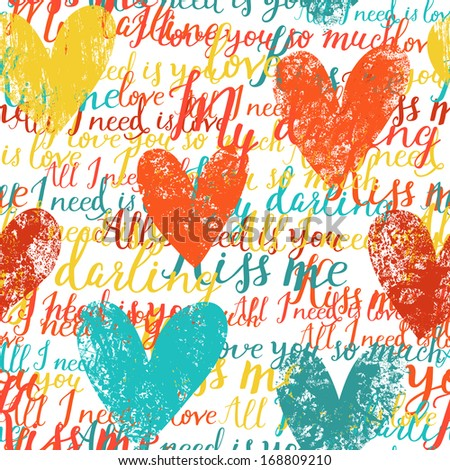 Stylish concept seamless pattern made of hearts and romantic handwritten words in vector. Seamless pattern can be used for wallpapers, pattern fills, web page backgrounds, surface textures. - stock vector