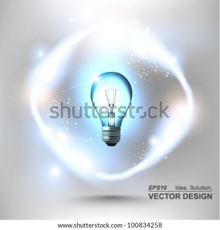 stylish conceptual digital light bulb idea design - stock vector