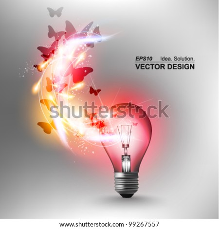 stylish conceptual digital light bulb idea design - Idea Design