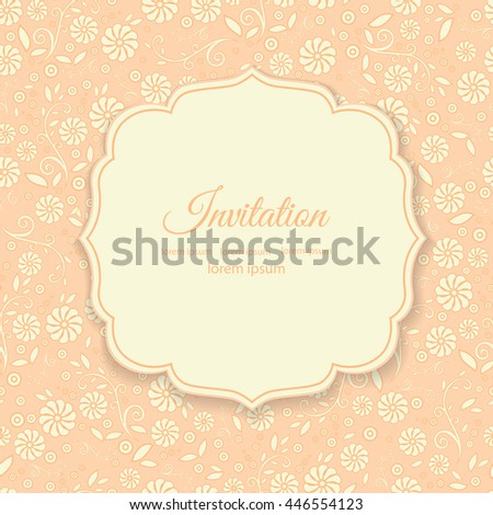 Stylish cover with flowers on orange background