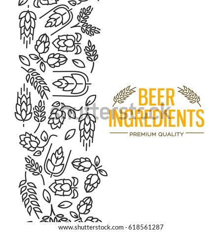 Stylish design card with images to the left of the yellow text beer ingredients of flowers, twig of hops, blossom, malt vector illustration
