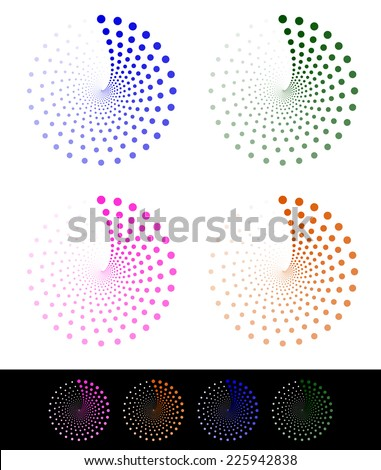 Stylish dotted design elements, motifs - stock vector