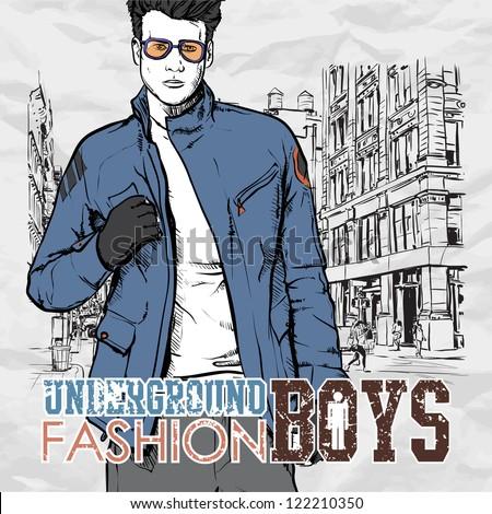 Stylish dude  on a street-background. Vector illustration. - stock vector