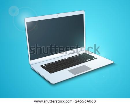 Stylish electronic device open laptop on sky blue background. - stock vector