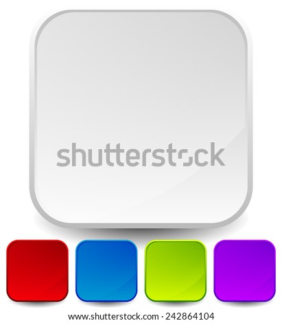 Stylish empty icon backgrounds, rounded squares with glossy effect - stock vector