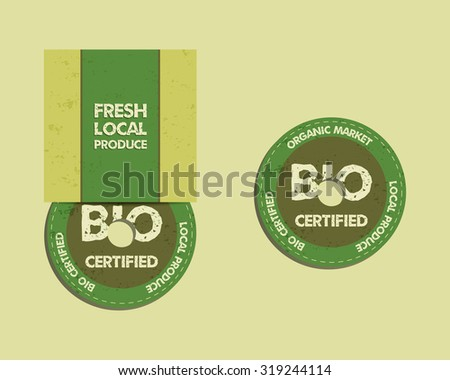 Stylish Farm Fresh CD and DVD disc templates with box, ecology logo. Organic, eco, bio. Mock up design. Retro colors. Best for natural shop, organic fairs, eco markets and local companies. Vector. - stock vector