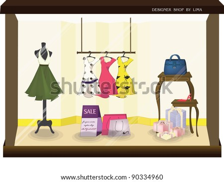 Stylish Fashion Display - sale products of beautiful fashionable collection in the show window for attractive woman : vector illustration - stock vector