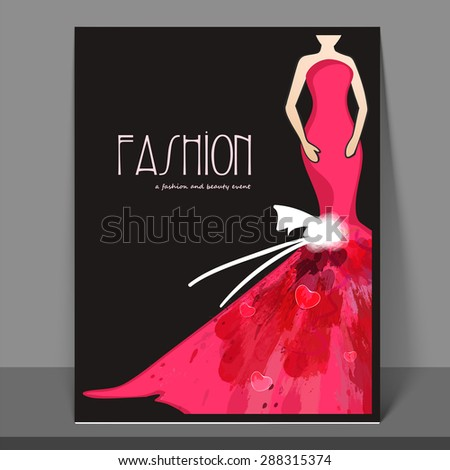 Stylish fashion flyer, banner or template design with model in long gown. - stock vector