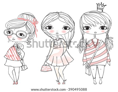 Stylish fashion girls with bags.  Childish vector card - stock vector
