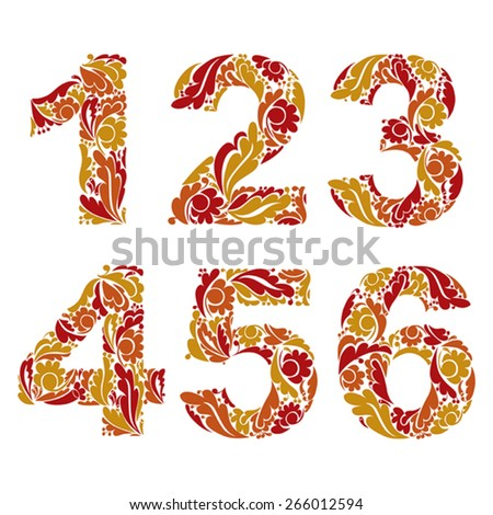 Stylish figures with herbal ornament. Beautiful numbers with floral pattern, 1, 2, 3, 4, 5, 6. - stock vector