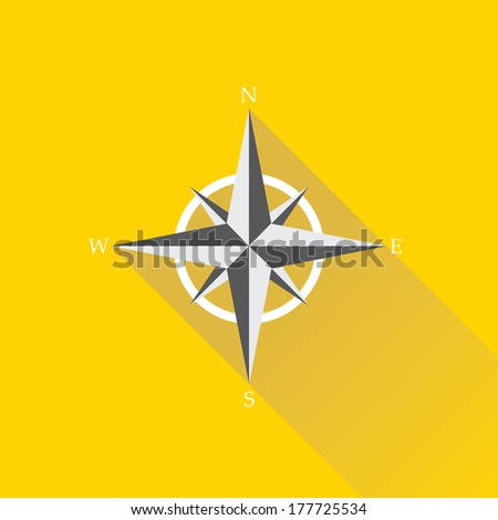 stylish flat design white Compass vector Icon with long shadow on orange  abstract background. navigation and traveling sign. travel icon - stock vector