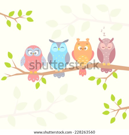 stylish flat illustration of four different funny owls sitting on a branch - stock vector