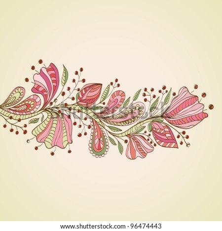 Stylish floral background, hand drawn flowers,vector  illustration