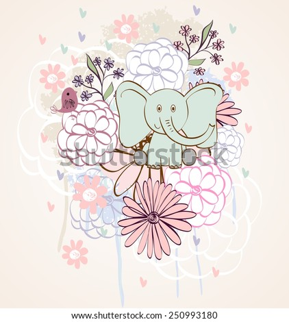 Stylish floral background with cartoon elephant and  bird in light colors. - stock vector