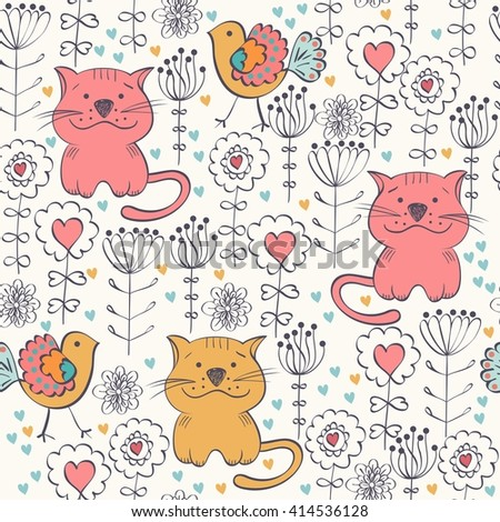 Stylish floral background with  cats  in light colors.