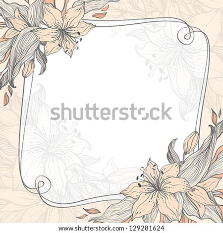 Stylish floral background with frame. Element for design. Vector illustration. EPS10. - stock vector