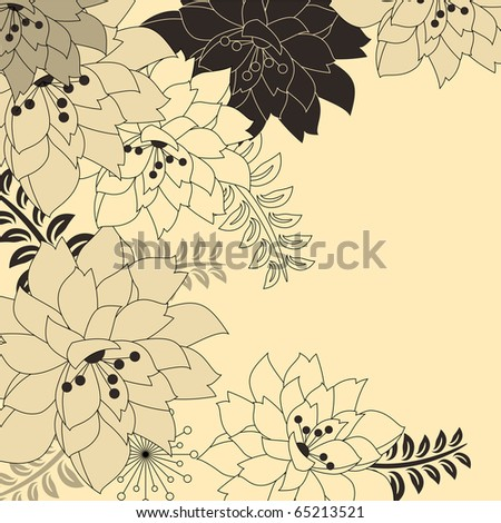 Stylish floral beige background - stock vector