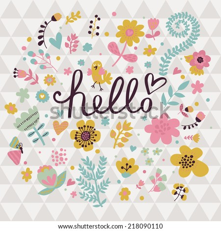 hello spring flowers text background stock vector, Beautiful flower