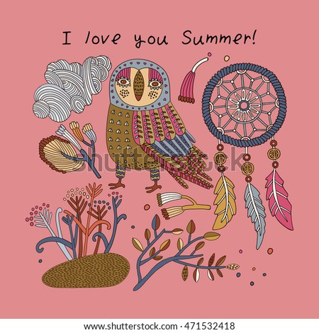 Stylish floral card with cute owl and feathers in bright colors in vector. Awesome cartoon card for summer designs