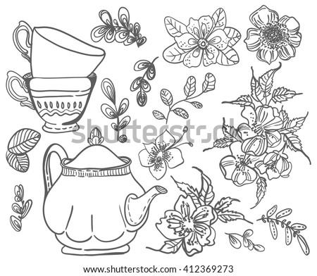 Stylish floral doodle background, retro flowers cups and tea pot, hand drawing  illustration, collection of elements, Vector