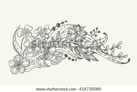 Stylish floral doodle background, retro flowers, hand drawing  illustration, Vector