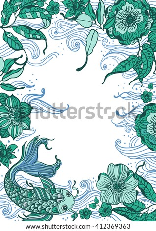 Stylish floral doodle background with koi fish and flowers, retro flowers, hand drawing  illustration, Vector