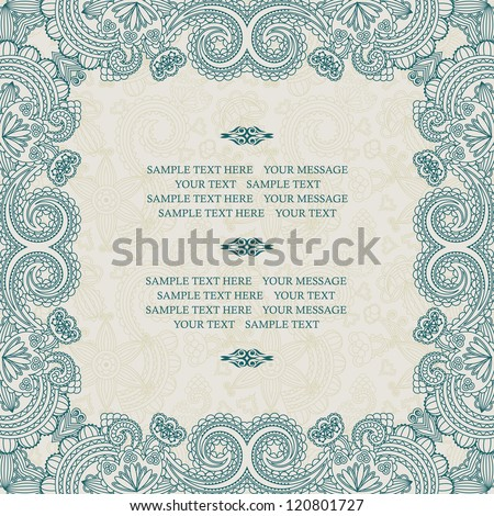 Stylish floral frame in blue on a light seamless background