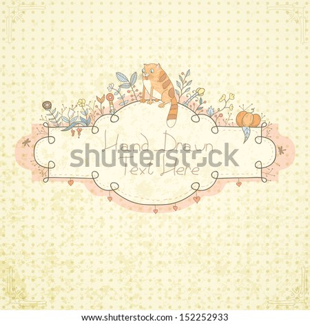 Stylish floral frame with hand drawn retro flowers, plants and funny cat