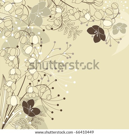 Stylish floral light beige background - stock vector