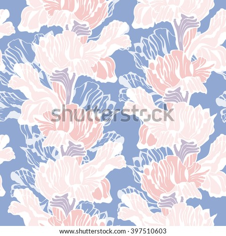 Stylish floral Seamless Background. Vector Pattern with iris flowers. Pastel colored Ornament.