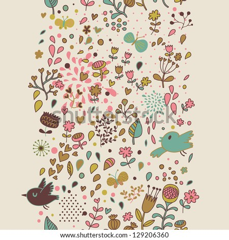 Stylish floral seamless pattern in vector. Cartoon birds flying in flowers - stock vector