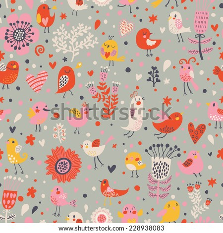 Stylish floral seamless pattern with birds and hearts in vector. Cute cartoon natural background in bright colors