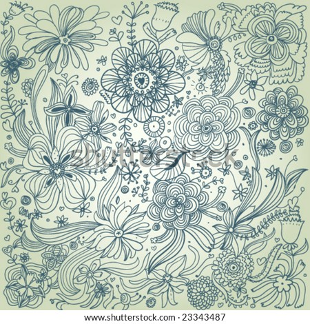 Stylish floral vector pattern in blue and green colors