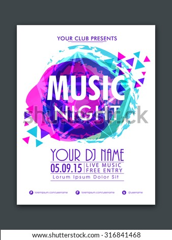 Stylish flyer, banner or template with colorful abstract design for Music Night Party celebration. - stock vector
