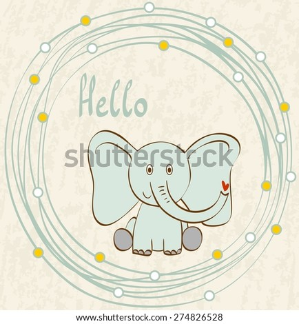 Stylish frame with cartoon elephant   in light colors. - stock vector