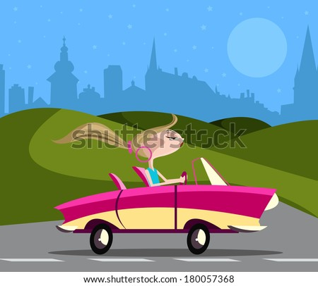 Stylish girl driving car on road - stock vector