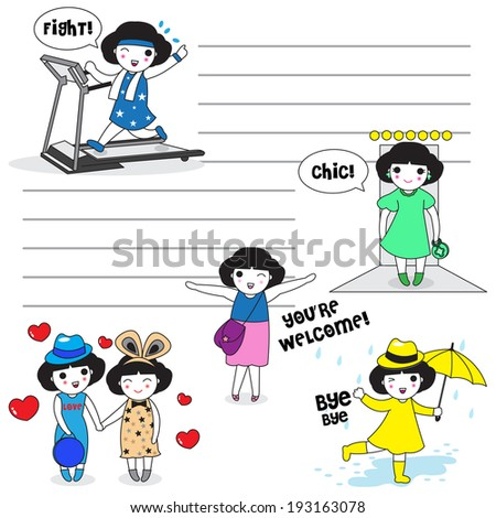 Stylish girl's daily life character paper note - stock vector