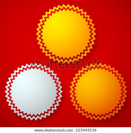 Stylish gold, silver and bronze badges over bright red - stock vector