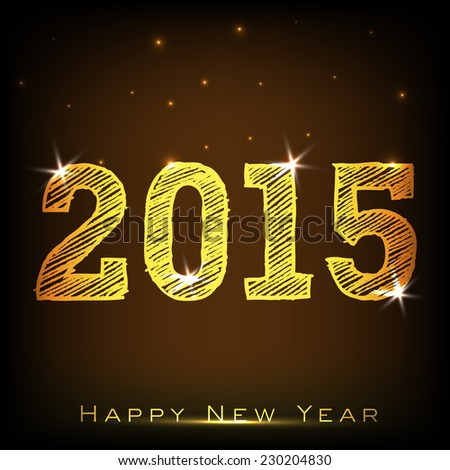 Stylish golden text 2015 on brown background, greeting card design for Happy New Year celebrations. - stock vector