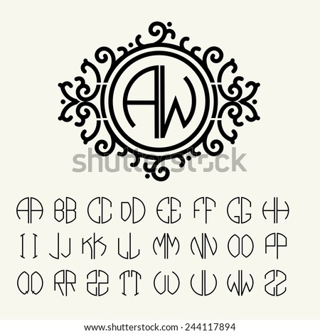 Stylish  graceful monogram , Elegant line art logo design in Victorian Style - stock vector