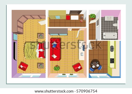 Modern Furniture Top View apartment floor plan furniture top view stock vector 529314934
