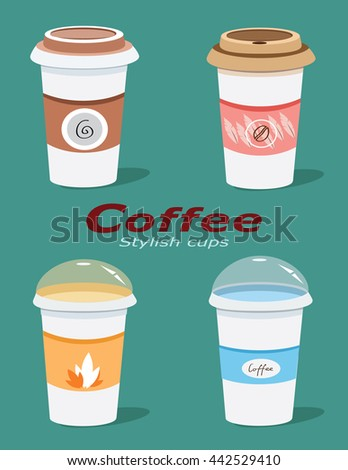 Stylish graphic coffee cups design. Flat style vector cups set.   - stock vector