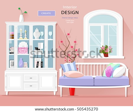 Stylish Graphic Room Interior Pastel Colors Stock Vector (2018 ...