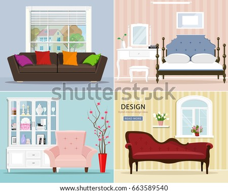 Stylish Graphic Room Set: Bedroom With Bed And Night Table; Living Room  With Sofa